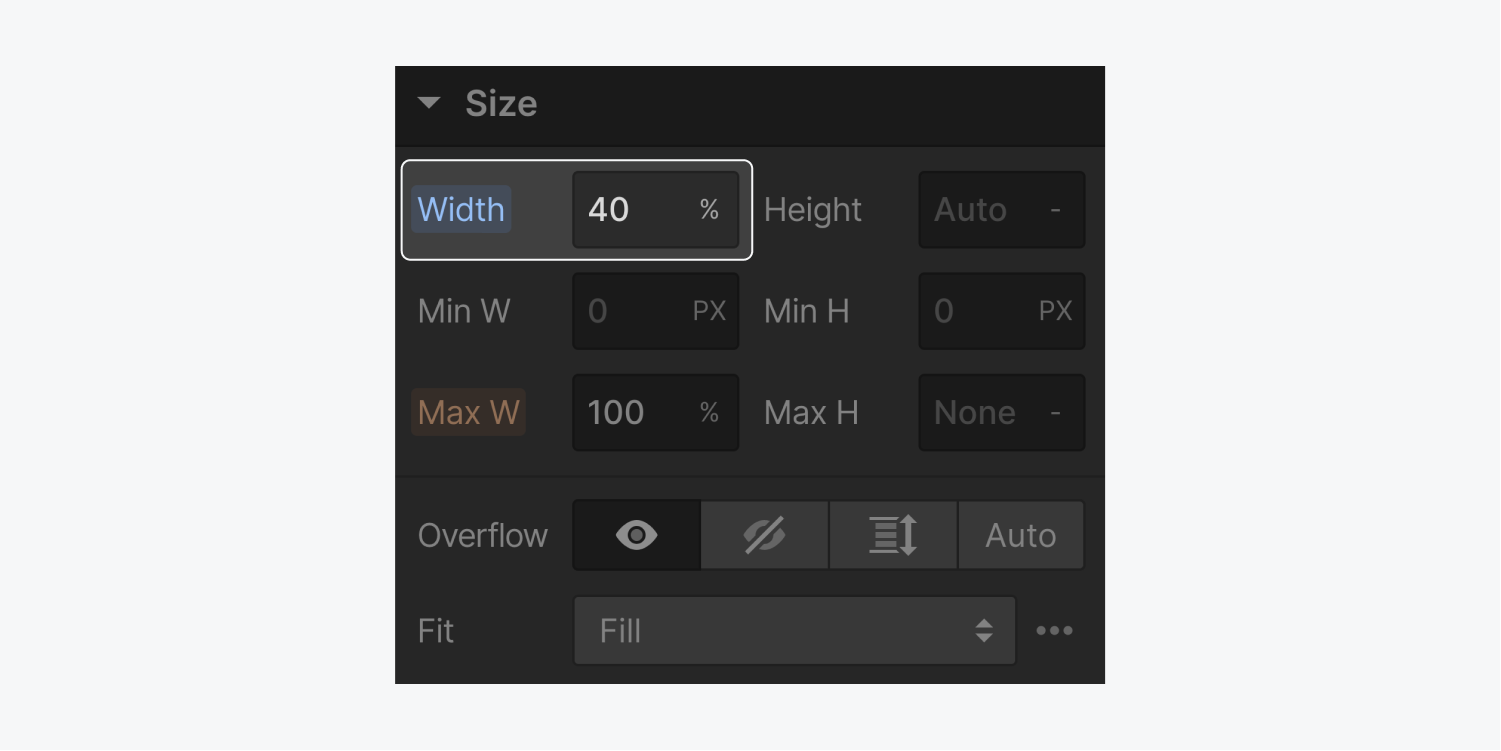The width settings are set to 40 percent. The percentage option has been chosen opposed to the pixels setting. The width settings are highlighted on the Size panel.