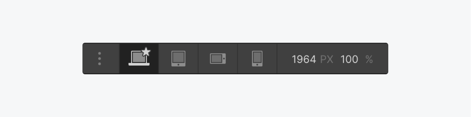 The breakpoints toolbar includes a three dot icon button to add large breakpoints, four different options and canvas dimension details.