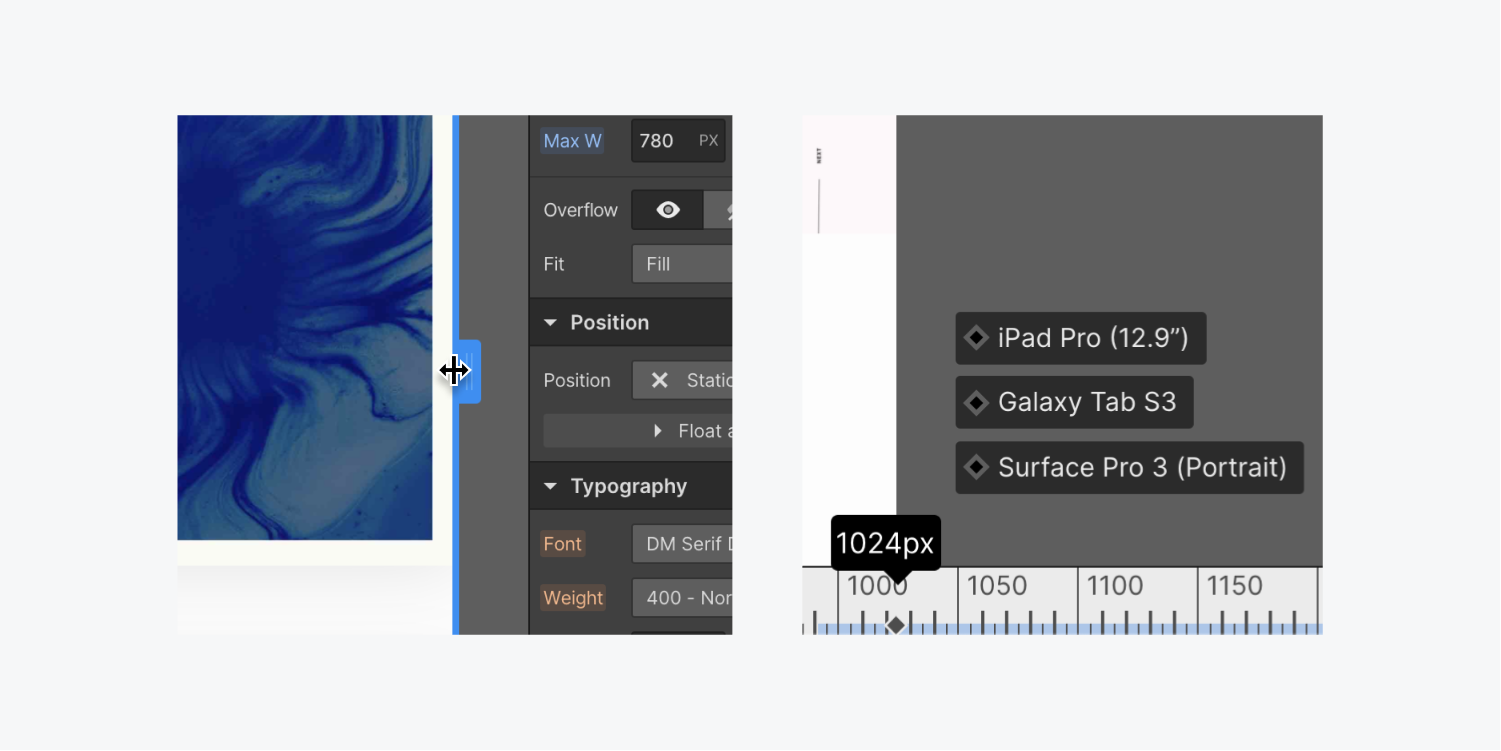 On the left, the blue drag element on the edge of the canvas is being dragged to the left. On the right, the breakpoint sizes and the respective device is detailed on the bottom of the canvas with a ruler set at 1024 px.