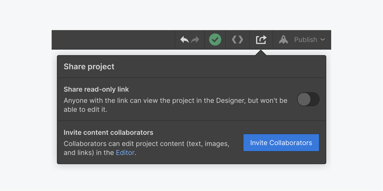 The share project button is clicked on the top toolbar. The share project window includes a switch button to share a read-only link and a Invite Collaborators button.