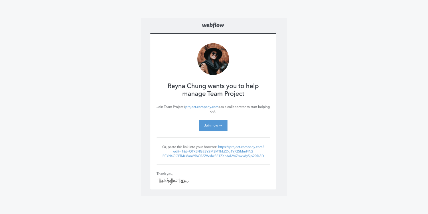 The confirmation email includes an image avatar of the person who invited you, detail of the project, a blue join now button and a link to paste into your browser.