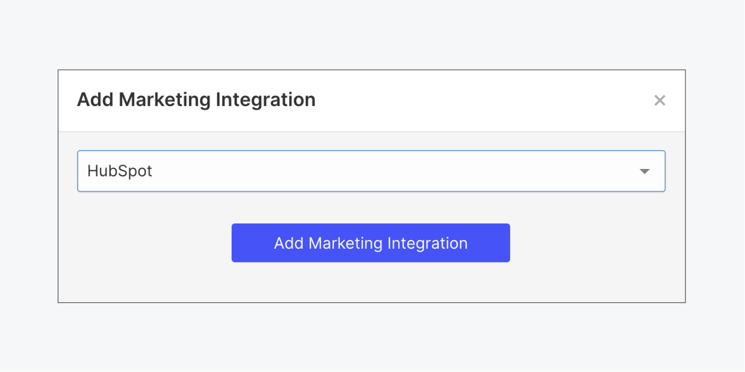 """Webflow's """"Add marketing integration"""" modal shows HubSpot selected in the dropdown menu."""