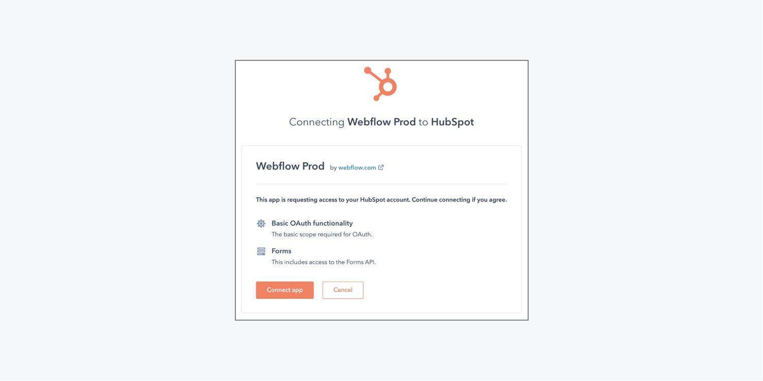 HubSpot's interface to allow access to Webflow is shown.