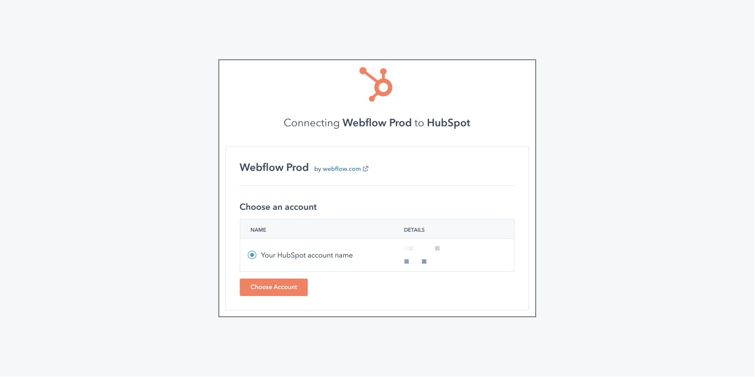 HubSpot's interface to connect Webflow to a HubSpot account is shown.