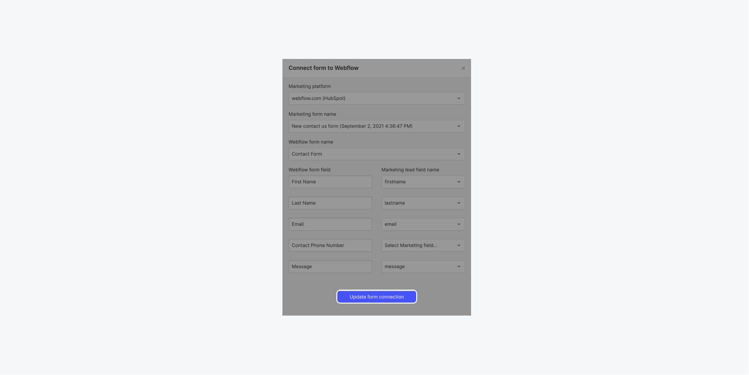 """The """"Update form connection"""" button is highlighted in Webflow's """"Connect form to Webflow"""" modal for a HubSpot form integration."""