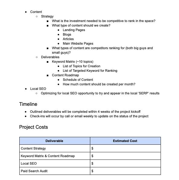 page 2 of sample digital marketing proposal