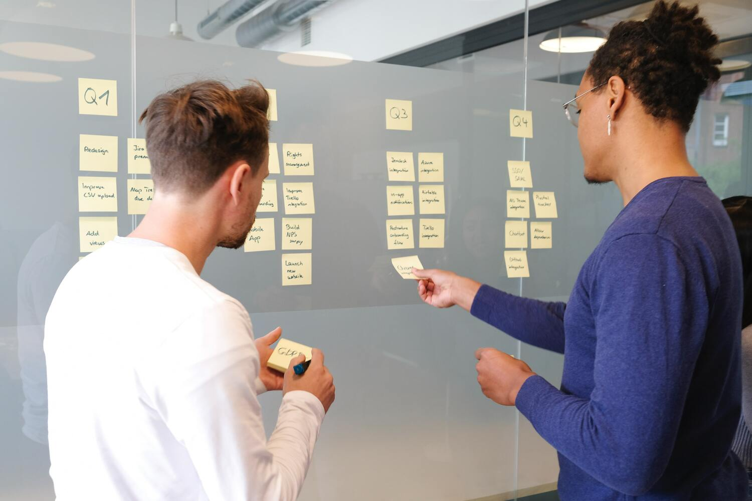 Two coworkers layout sticky notes on a board to prioritize things to achieve each quarter's goals