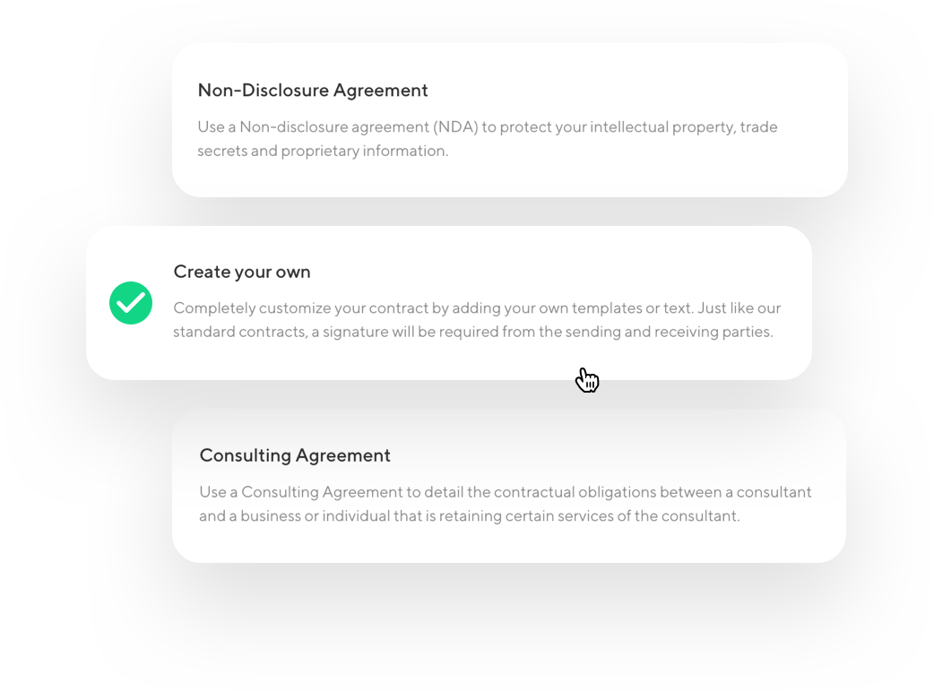 screenshot showing contract types, including Non-disclosure Agreement, Consulting Agreement, and create your own