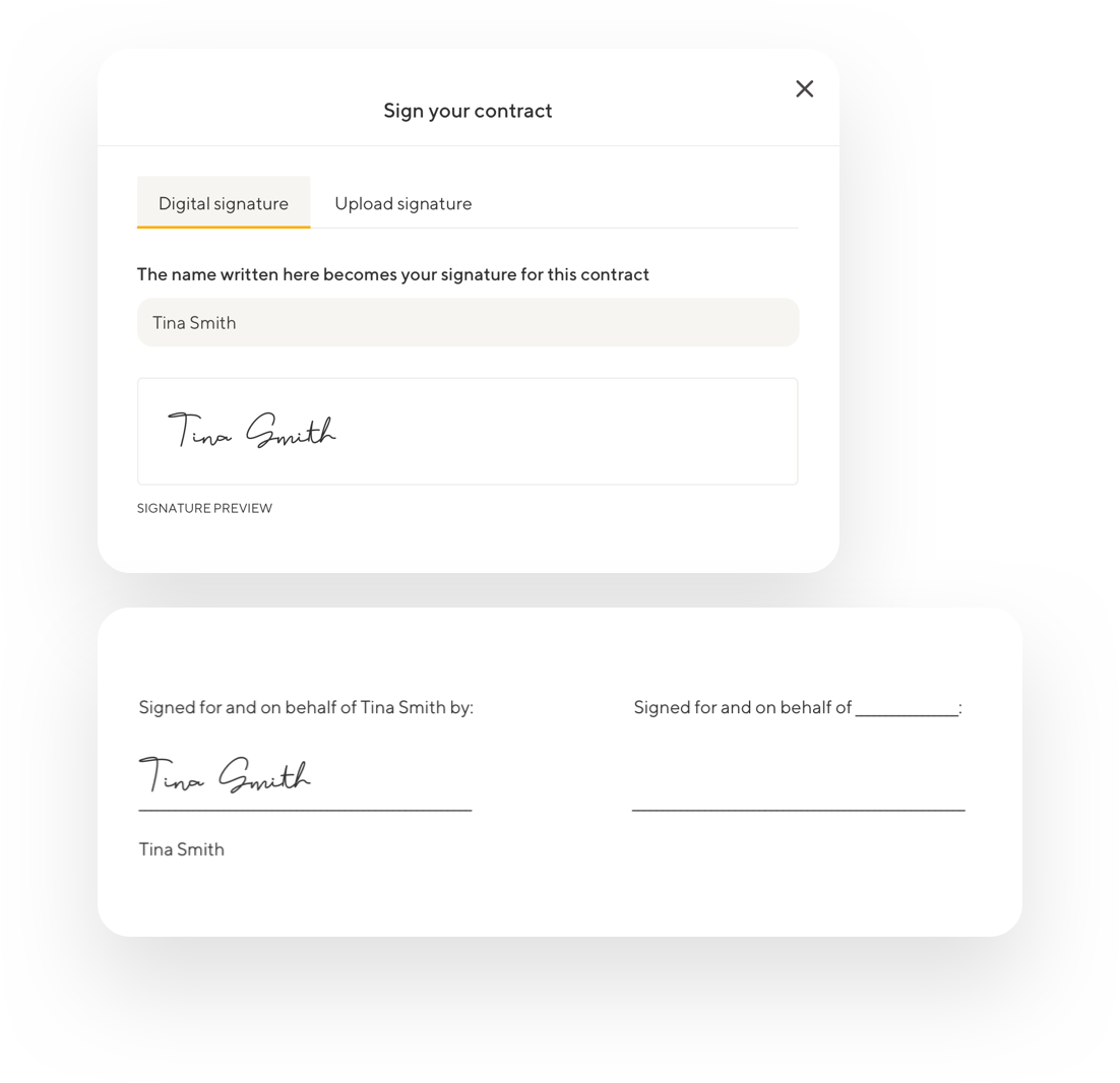 Screenshots depicting Tispr's online signature options