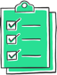 Clipboard icon with tasks marked done