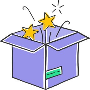icon of a purple package with stars flying out from it