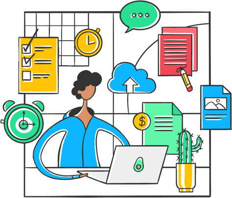 Illustration of a person sitting at their desk with productivity tools floating around them