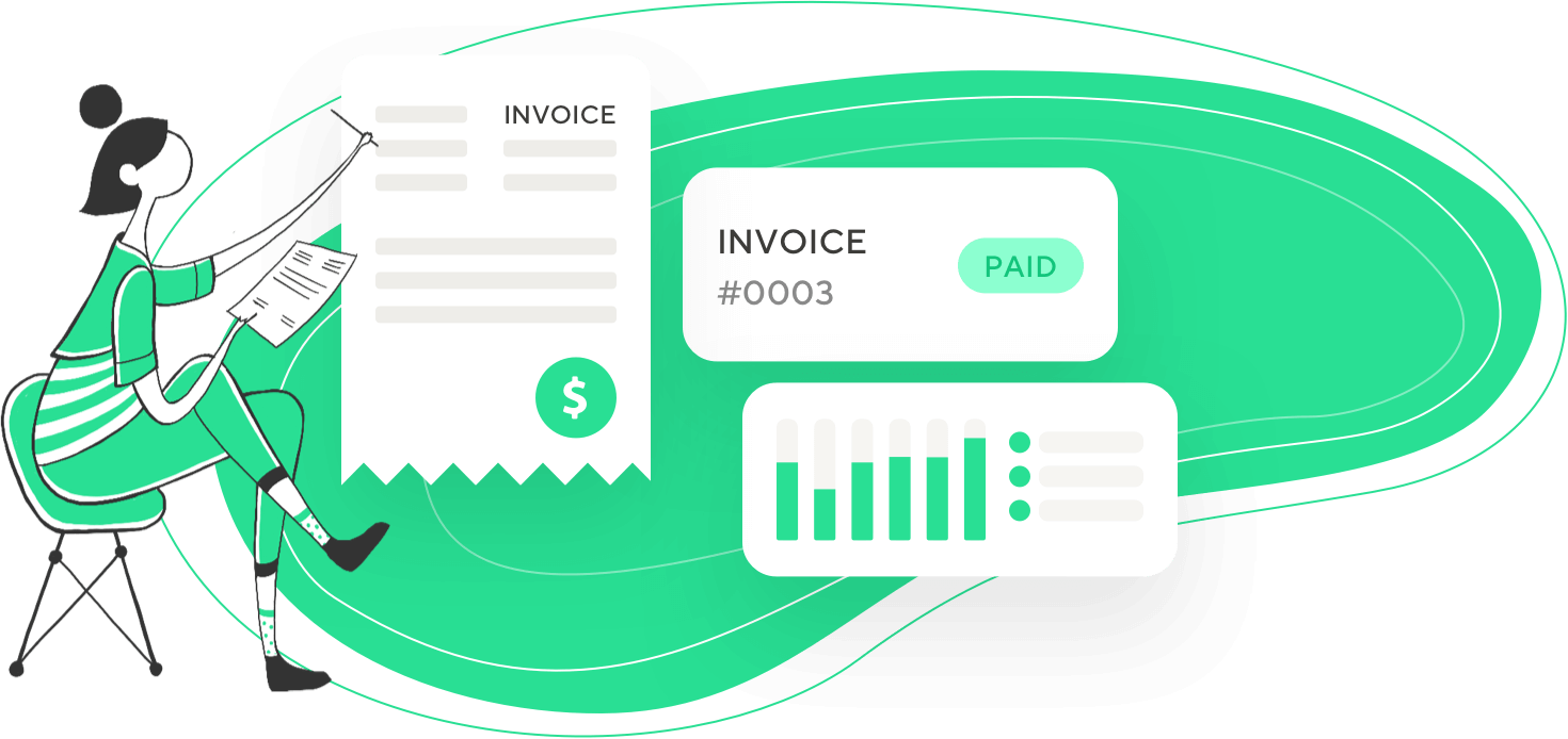 Illustration of a woman managing her invoices
