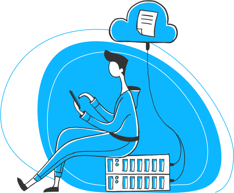 Illustration of a guy sitting on a computer server, sending a document to the cloud