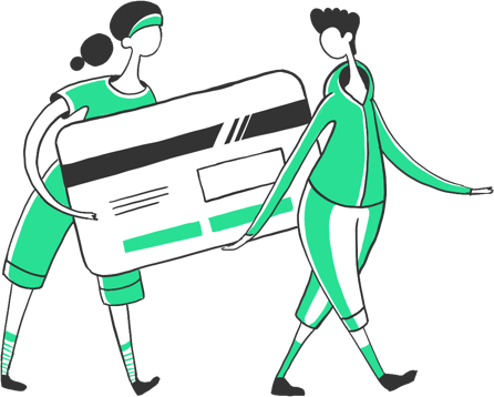 Illustration of two people carrying a giant credit card between them
