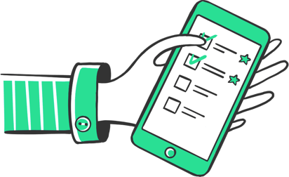 illustration of a freelancer holding a mobile phone with tispr's mobile app featuring the to-do list