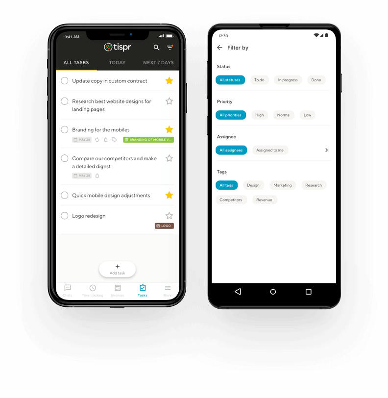 screenshots of tispr's Tasks on mobile app showing the to-do list
