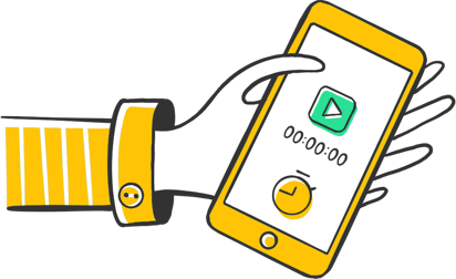 Illustration of a hand holding a mobile phone with Time Tracker on it