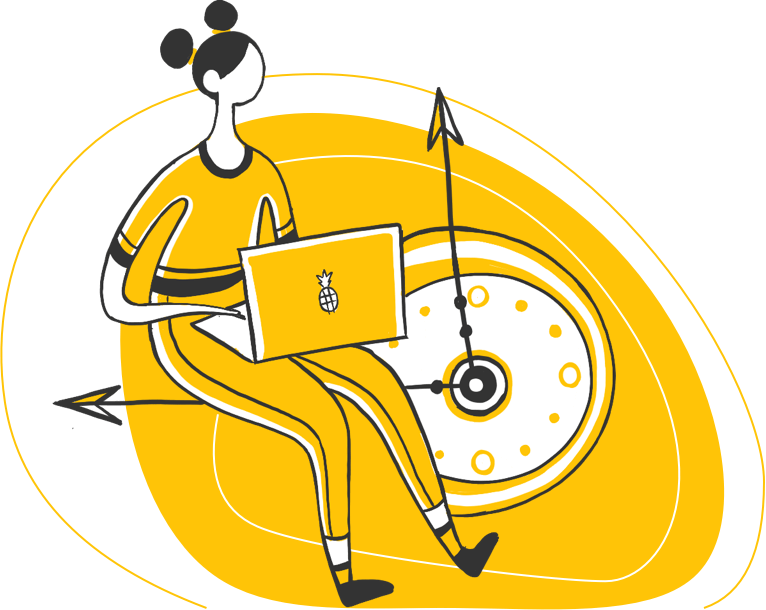 Illustration of a woman with her laptop sitting on a clock hand