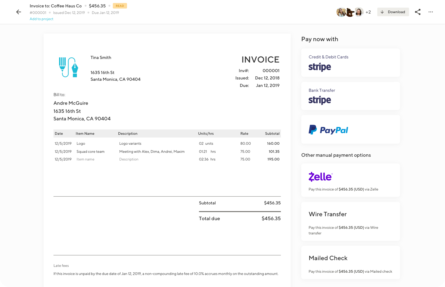 Screenshot of Invoices tool