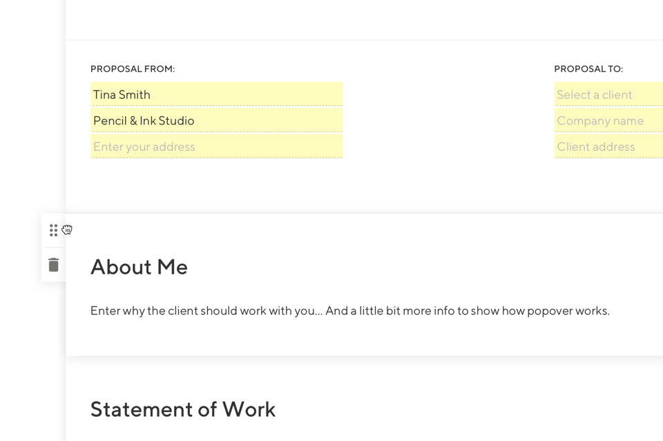 Screenshot that shows proposal elements being customized for the freelancers needs