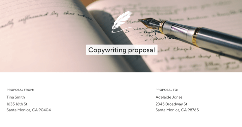 Screenshot of a copywriting proposal put together by a freelancer with a quill logo and a pen and book background image