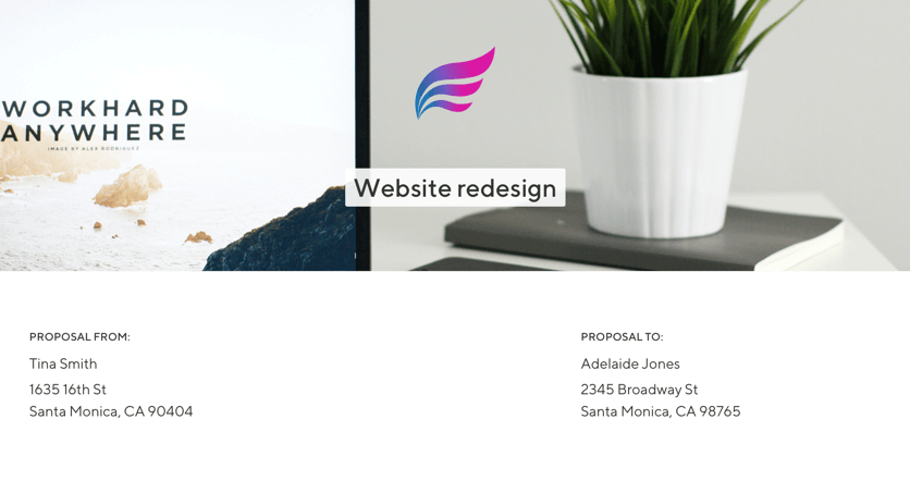 Screenshot of a website redesign proposal put together by a freelancer with a logo, desk plant, and laptop photo in the background