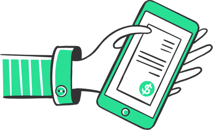 Illustration of a hand holding a mobile phone with Invoices on it