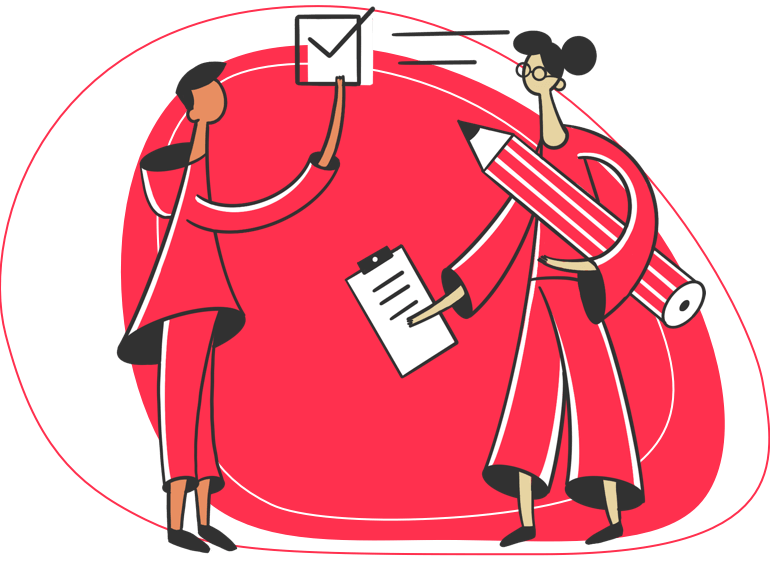 illustration of a freelancer sharing a form with a client