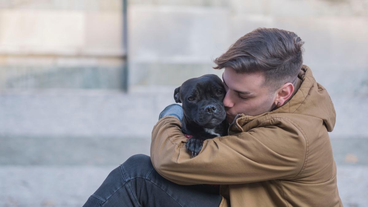 New pet parent adopting black Pitbull from shelter