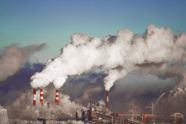 Harmful emissions into the environment, smoke and smog causing pollution in the atmosphere