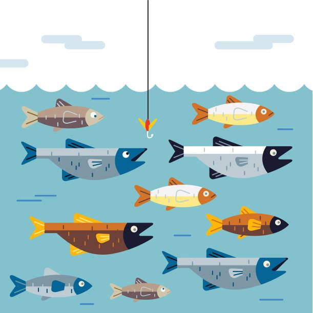 Cartoon illustration of fish underwater avoiding bait on fish hook
