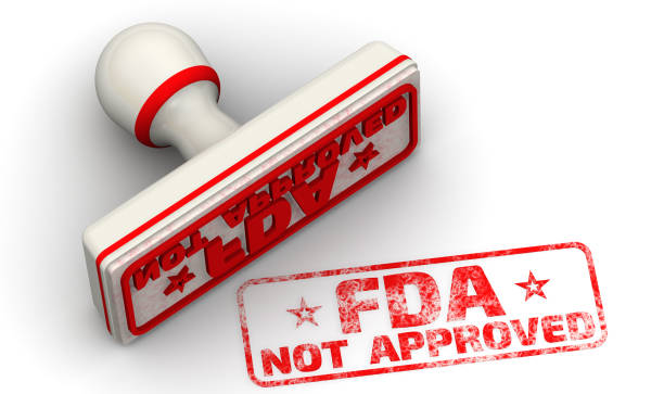 """FDA not approved. Seal and imprint Red seal and imprint """"FDA NOT APPROVED"""" on white surface. FDA - Food and Drug Administration is a federal agency of the United States Department of Health and Human Services. Isolated. 3D Illustration fda stock pictures, royalty-free photos & images"""