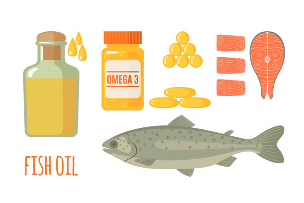 Fish oil vector icons set in flat style isolated on white background. Fish oil icons set in flat style isolated on white background. Healthy seafood, fish oil in bottle and softgel pills. Vector illustration. fish oil stock illustrations