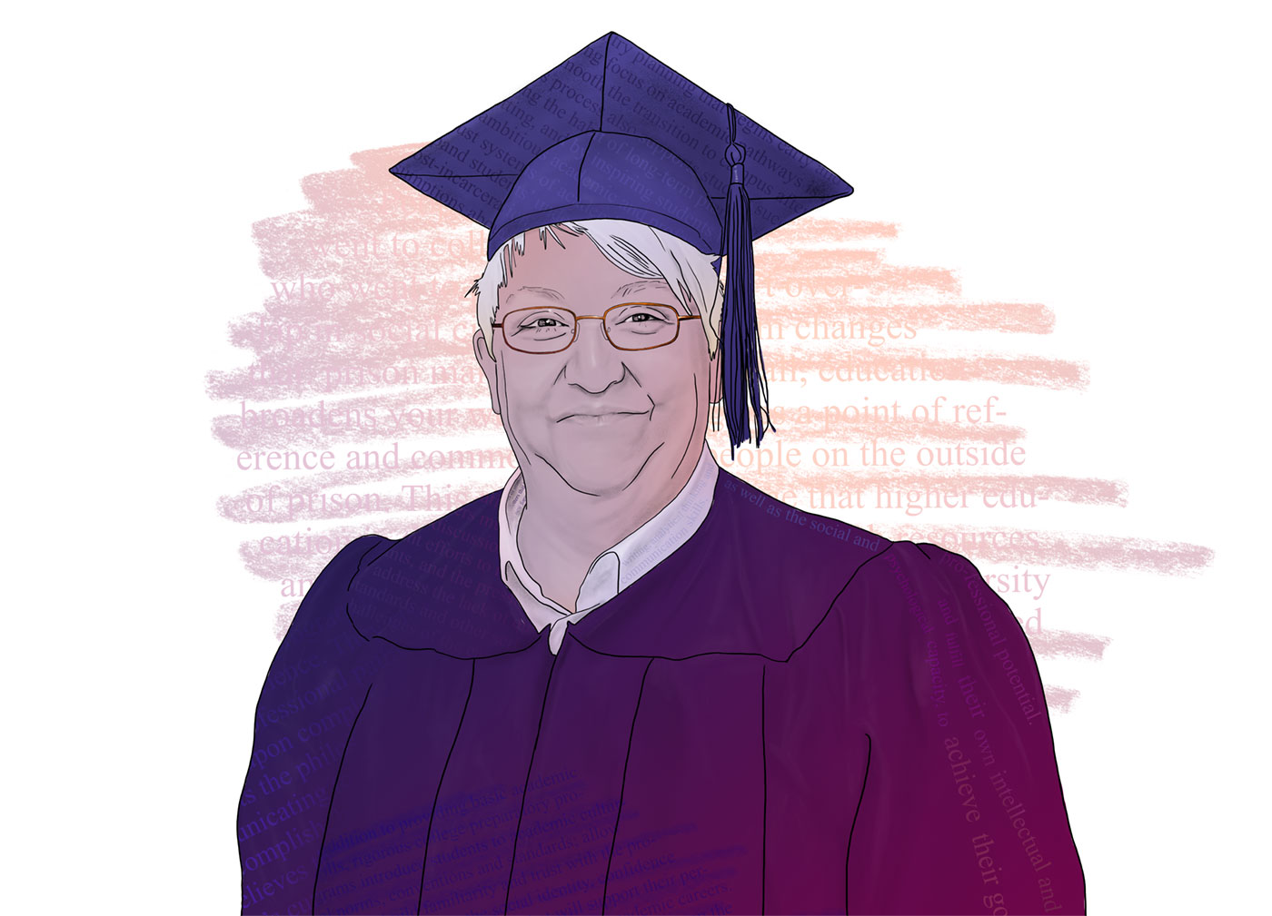 A colorful illustration depicts a mature woman in a cap and gown with text surrounding her