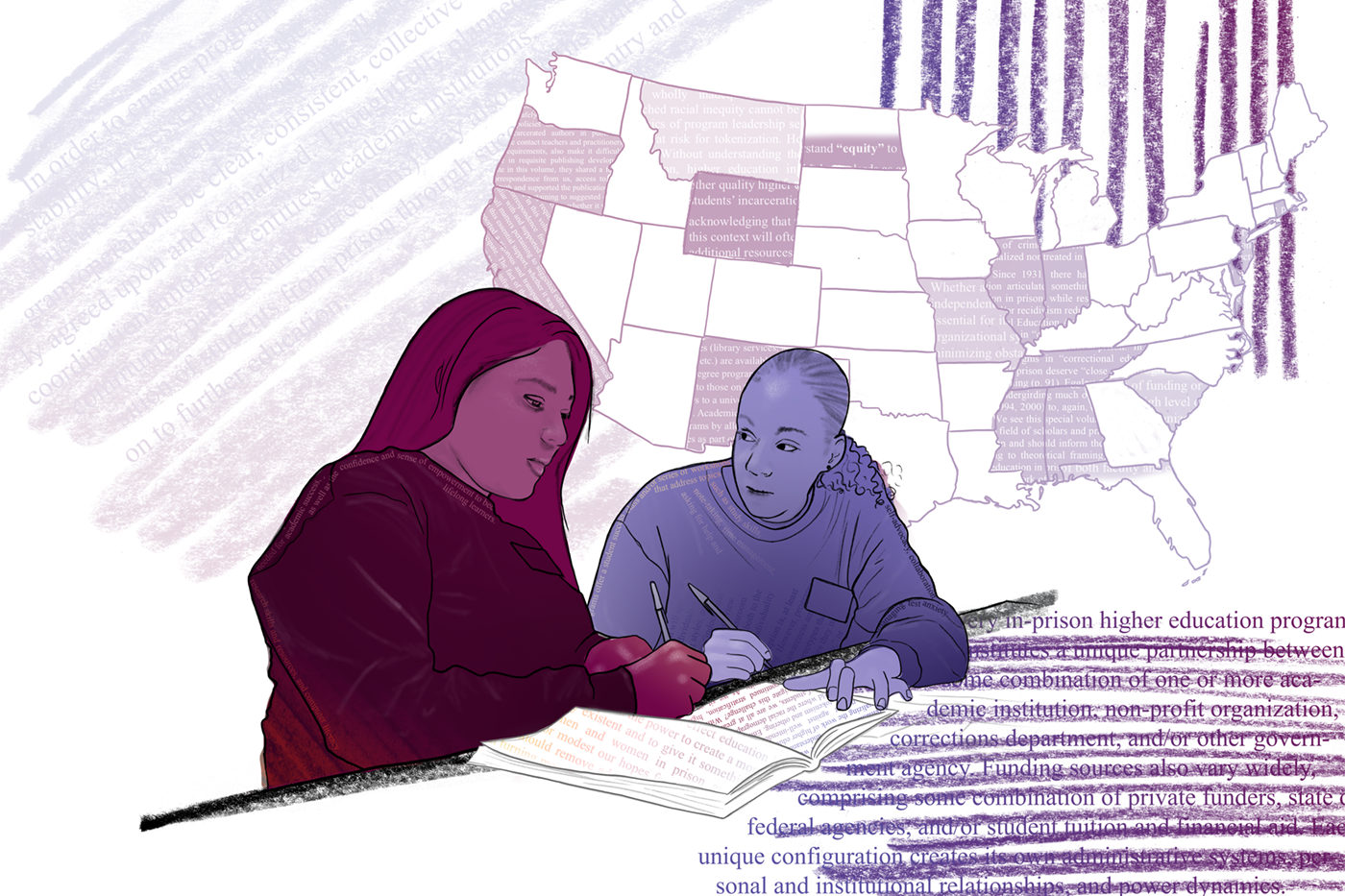 A collage/drawing of two women studying together in a prison classroom with the US map in the background