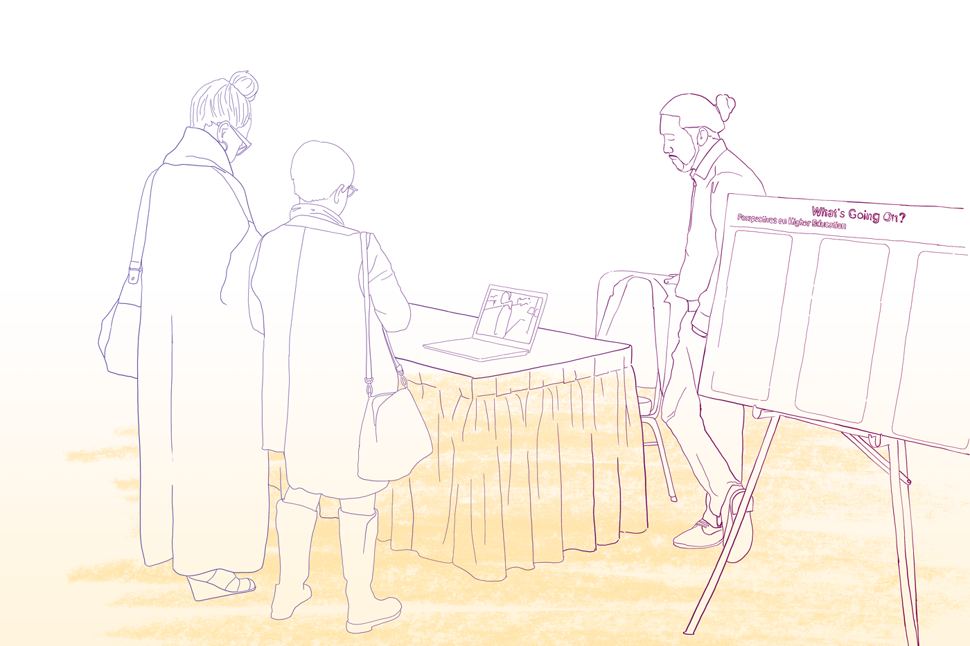 Line drawing of people at a table reviewing material at a computer together
