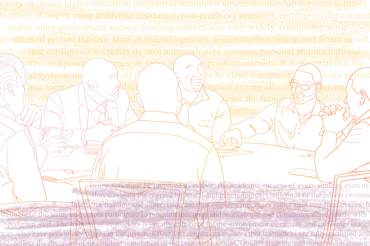 A colorful line drawing depicts a group of professionals talking around a table