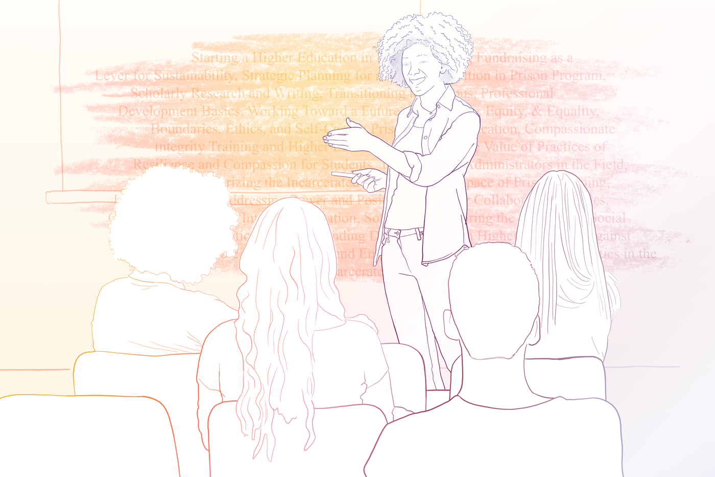 A colorful line drawing depicts a speaker talking to a seated audience