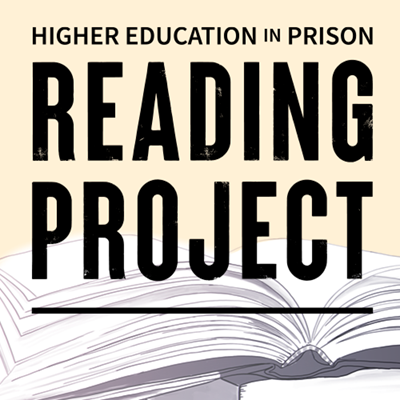 Higher Education in Prison Reading Project (text is shown with an illustration of an open book)