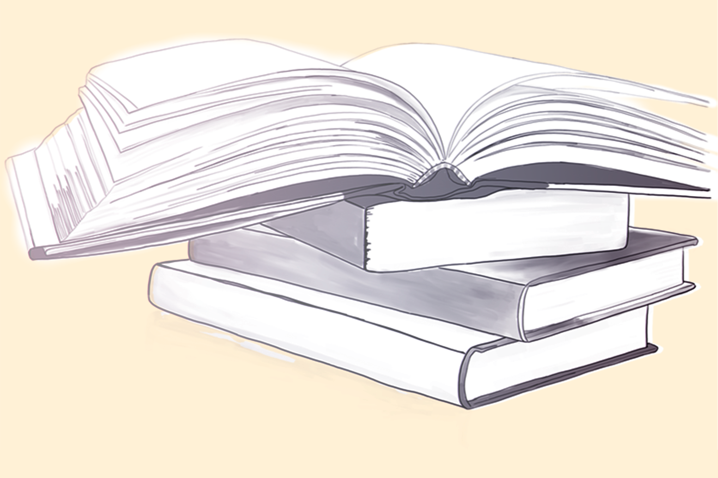 an illustration depicts a stack of books with the top book open wide