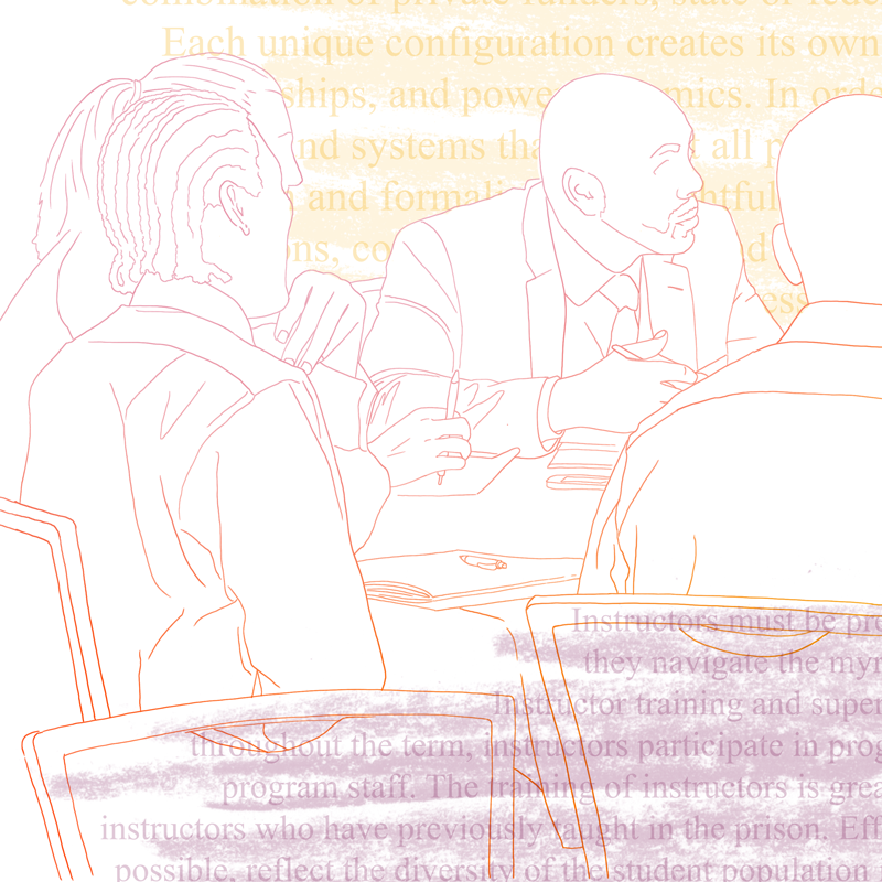 An abstract line drawing depicts people sitting at a table together in discussion