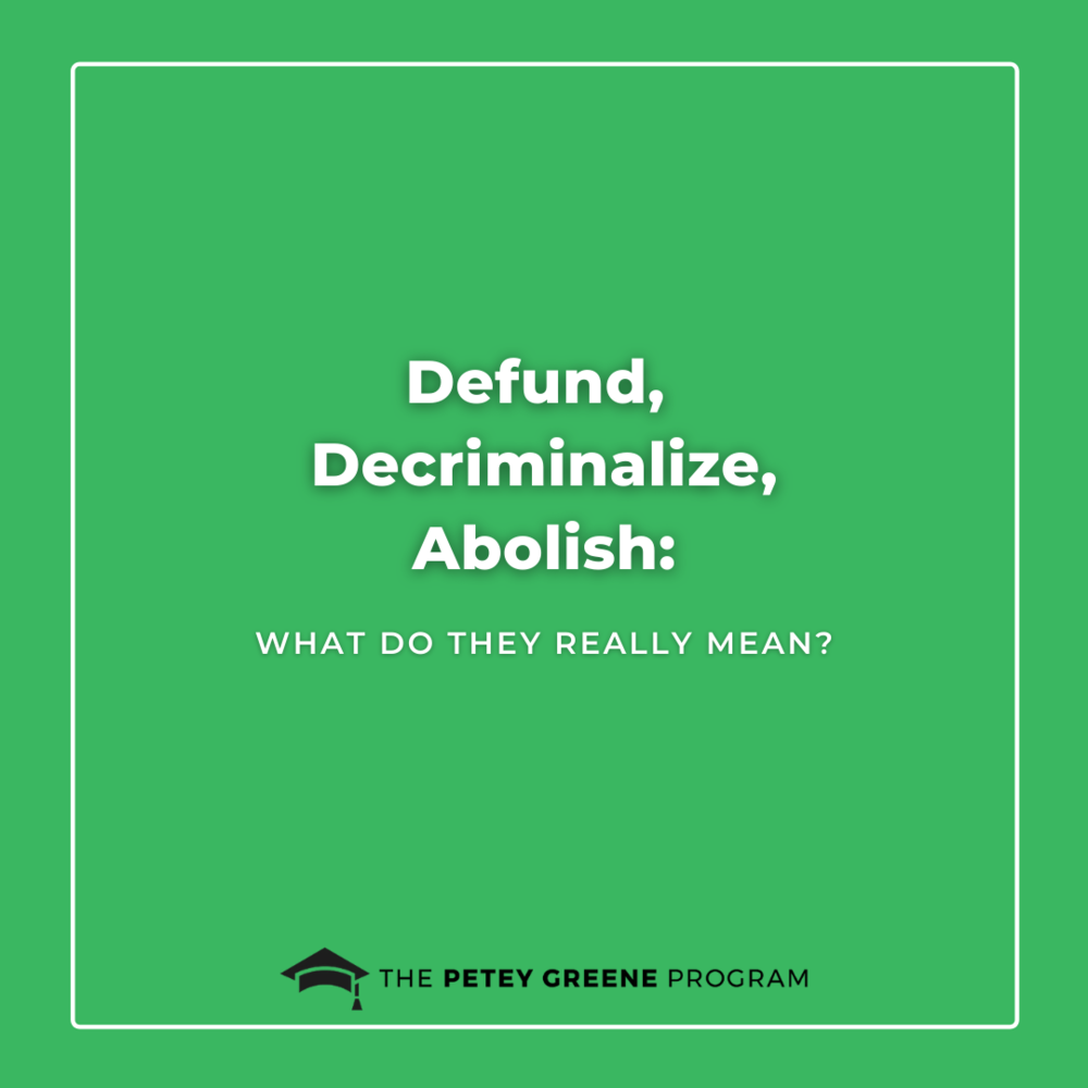 Defund, Decriminalize, Abolish: What do they really mean?