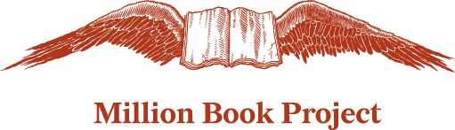 Million Book Project logo (an open book with wings)