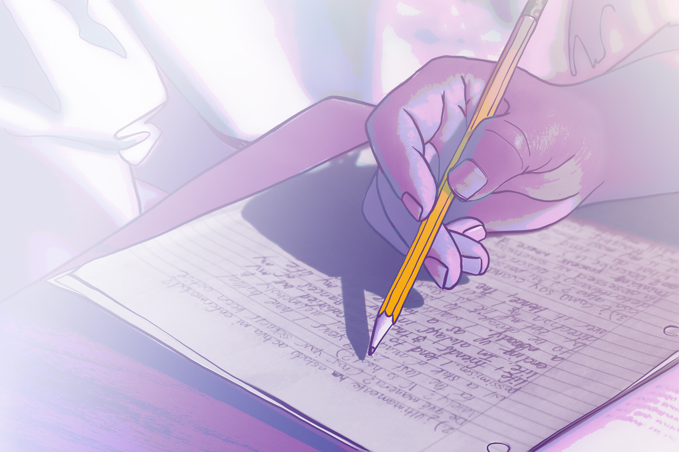 an abstract image depicts the hand of a student in prison writing a manuscript by hand