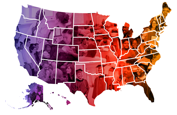 A colorful map of the US with photos showing faces of students and practitioners inside the shapes of states