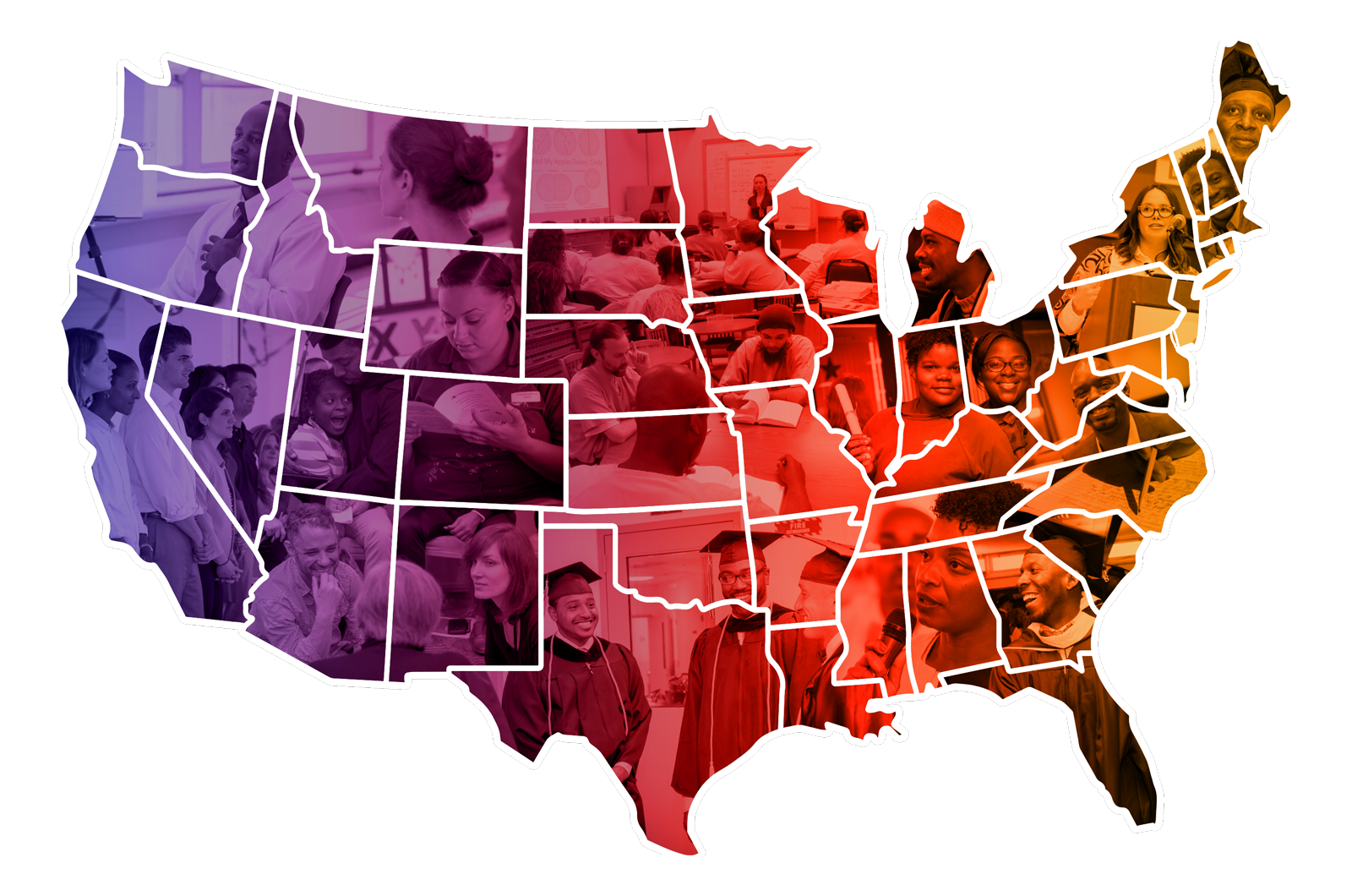 a colorful map of the continental United States depicts a mosaic of faces of the higher education in prison community