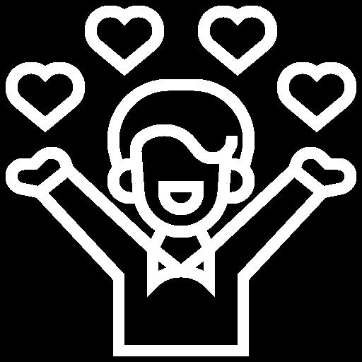 Ein Mensch umgeben von Herzen