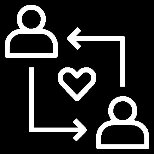 Ein Herz zwischen zwei Menschen