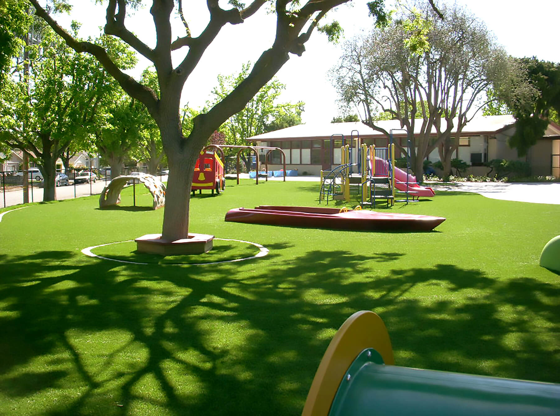 School playground with artificial turf surfacing